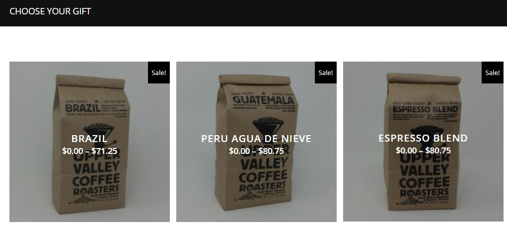 Screenshot of Choose your gift page that shows square images of coffee bags that are available to choose for Buy one Get one off.