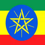 Flag of Ethiopia from top a thin band of Green, a yellow band twice the size, and a red band at the bottom. A yellow five pointed star is centered on a blue circle in the middle of the flag