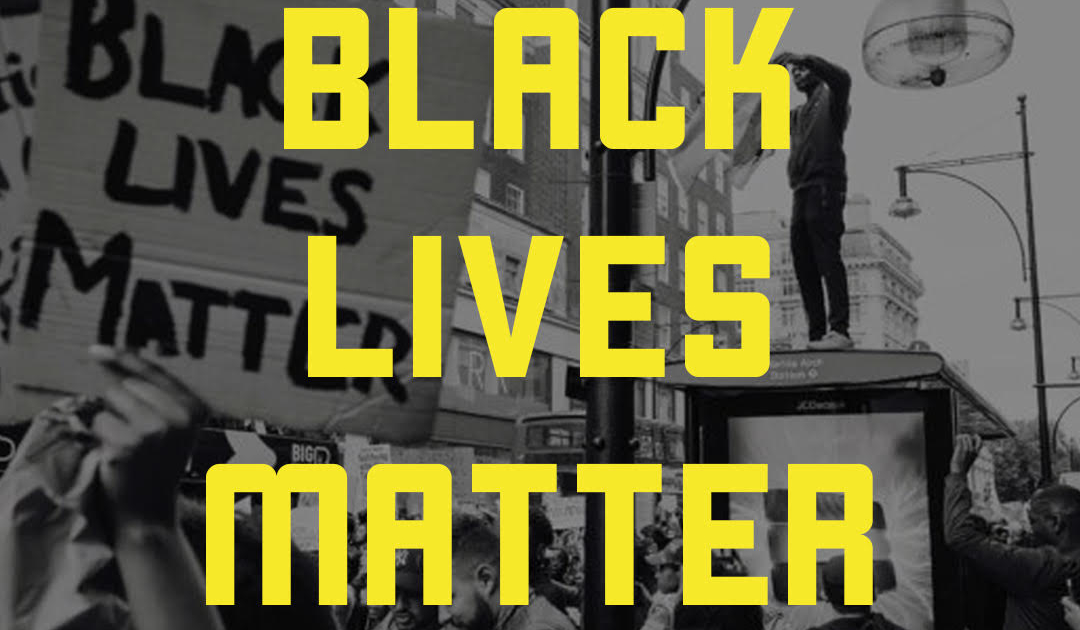 Black Lives Matter in yellow text over a background of Black protesters in the streets