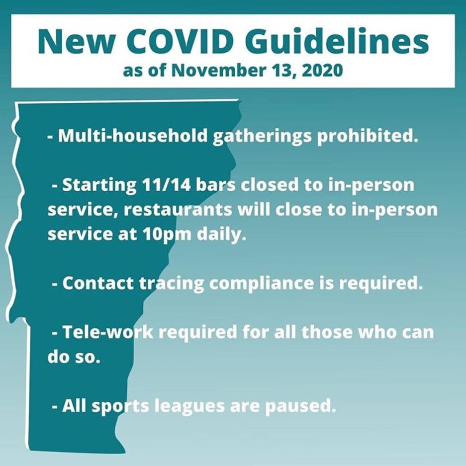 New Covid Guidelines as of November 13, 2020. Multi-household gatherings prohibited. Starting 11/14/20 bars closed to in person service, restaurants will close to inperson service at 10pm daily. Contact tracing compliance is required. Telework required for all those who can do so. All sports leagues are paused.